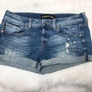 EXPRESS Distressed Cuffed Mini Denim Shorts